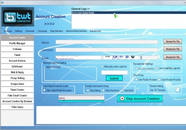 Give You Twitter Account Creator+Follower Bot 100 % Safe working